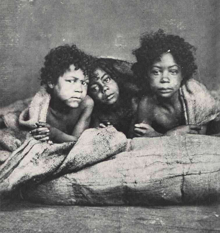 The Williams children, naked and huddled under sacks, as found by Dr Barnardo